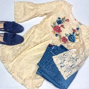 Forever 21 Cream lace floral embroidered tunic/S